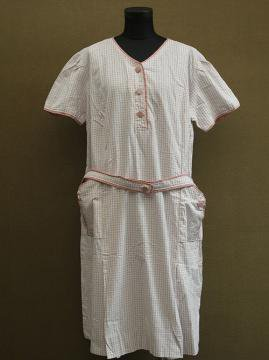 1930-1940's pink check dress S/SL