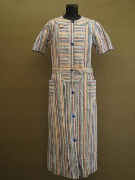 1930-1940's blue × red checked S/SL work dress dead stock