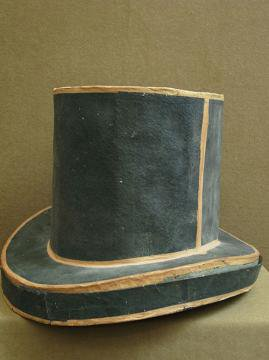 19th c. unusual paper hat box with top hat