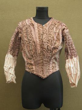 19th c. pink silk × striped linen bodice