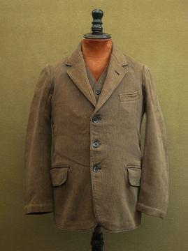 cir. 1940-1950's brown pique jacket and gilet