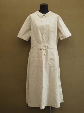 1930's S/SL beige cotton work dress