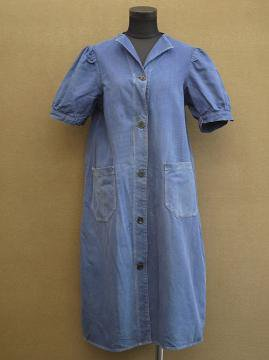 cir. 1930's blue cotton twill work dress