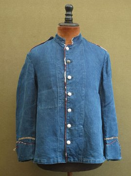 late 19th - early 20th c. indigo herringbone linen fireman jacket