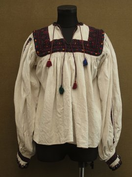 early 20th c. embroidered linen smock
