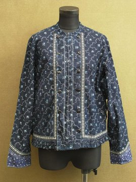 1920-1940's printed indigo jacket / blouse