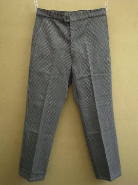 mid 20th c. gray striped pique work trousers dead stock