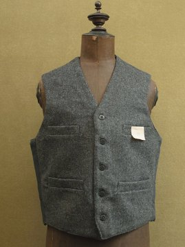mid 20th c. gray wool work gilet dead stock