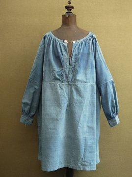 late 19th - early 20th c. indigo striped smock / biaud