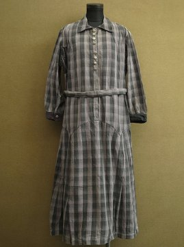 1930's gray checked dress