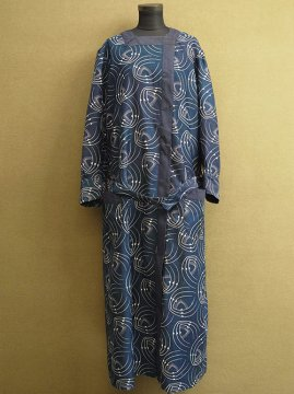 1920-1930's printed indigo dress / coat