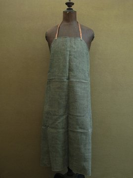 green checked linen apron