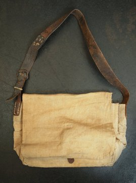 cir.1930's linen shoulder bag leather strap