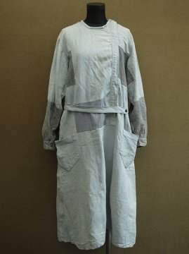 cir. 1920-1930's patched linen work dress