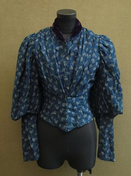 1900's printed blue wool bodice