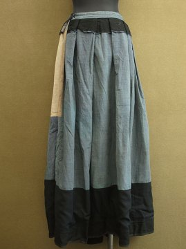 1880's-1900's indigo check × black skirt
