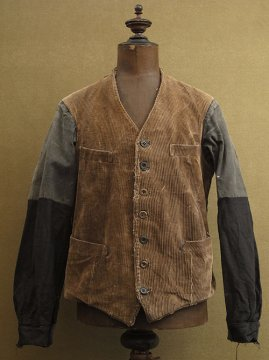 cir. 1930's brown cord gilet / jacket