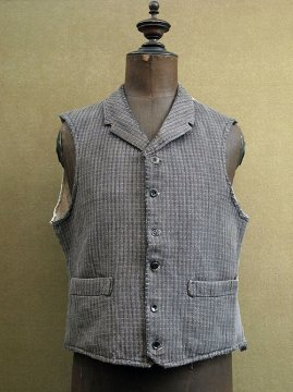 cir. 1930's gray checked cotton gilet