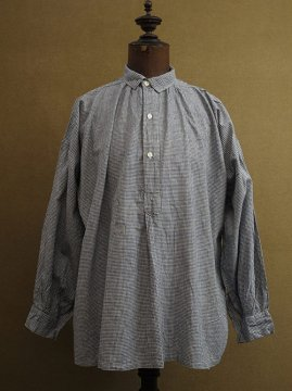 cir. 1940-1950's indigo checked cotton smock shirt