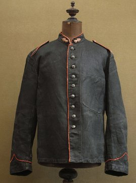 late 19th c. black herringbone linen fireman jacket