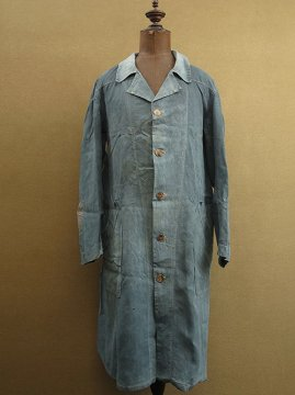 cir. 1920-1930's indigo linen maquignon work coat