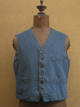 cir.1930-1940's indigo herringbone linen × cotton work gilet