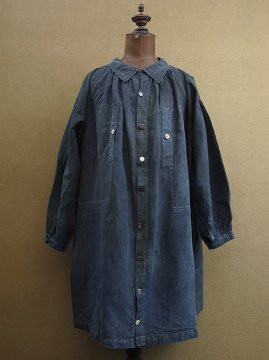 early 20th c. SALACHE indigo linen smock