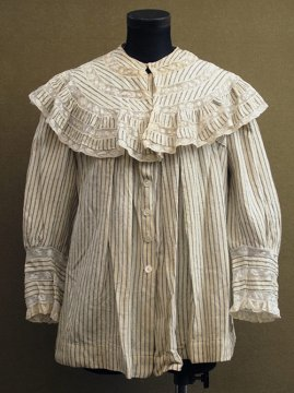 early 20th c. wool × cotton striped blouse