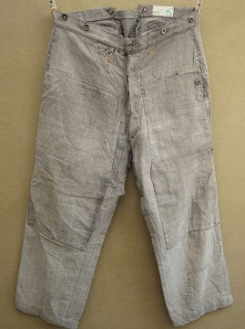 cir. 1920-1930's patched cotton work trousers