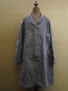 cir. 1930's black linen maquignon coat