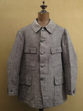 cir. 1930's salt&pepper herringbone cotton hunting jacket