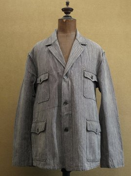 cir. 1940's gray striped cotton work jacket