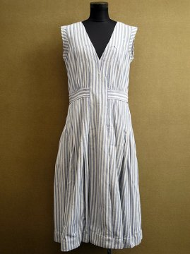 1930-1940's blue striped N/SL dress