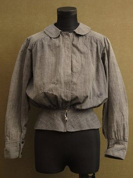 early 20th c. gray striped cotton blouse