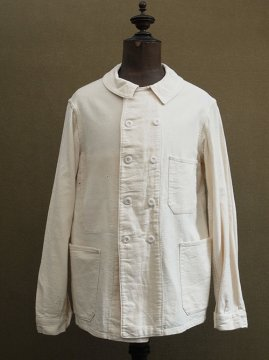cir. 1940's white cotton twill work jacket
