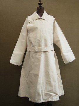 mid 20th c. french military double breasted linen coat dead stock