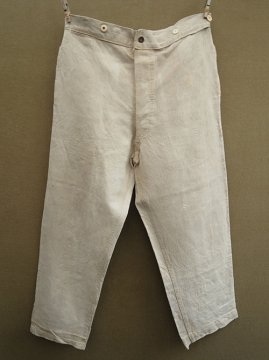 early 20th c. military linen herringbone work trousers