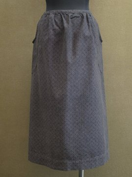 cir. 1920-1930's printed black cotton apron