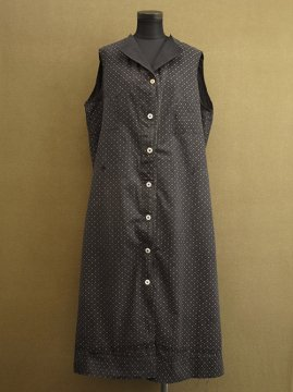 1930's black printed work dress N/SL