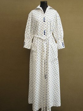 mid 20th c. blue dots long dress / coat