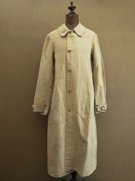 cir. 1930-1940 olive linen × cotton driving coat