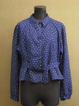 cir. 1950-1970's flower printed blue blouse