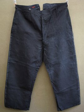 cir. 1940's black linen work trousers dead stock