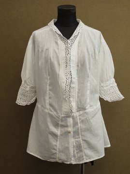 cir.1920's-1930's white blouse S/SL