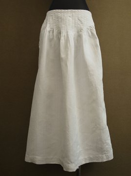 early 20th c. white linen apron skirt