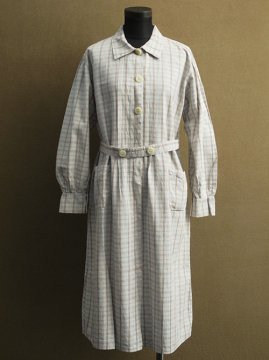 cir. 1930's checked work coat / dress