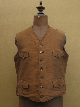 cir.1930-1940's brown moleskin gilet