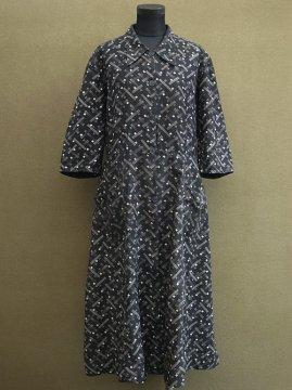 cir. 1930's printed cotton work dress S/SL