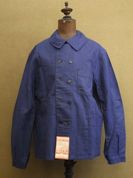 1940-1950's double breasted blue work jacket dead stock