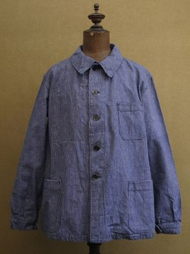 cir.1940's blue striped cotton work jacket dead stock